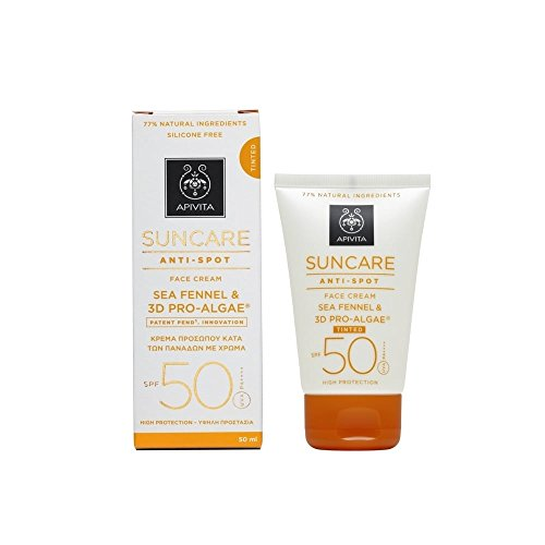 2 X Apivita Suncare Antispot Tinted Face Cream SPF50 with Sea Fennel and 3D Pro-Algae (New Product, Released in 2017) - 2 X 50ml/1.7oz