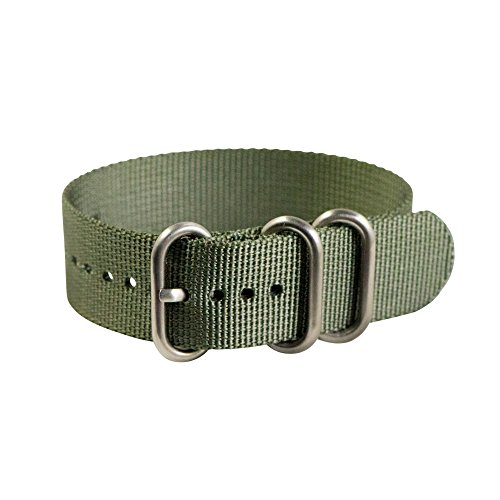 Clockwork Synergy - 3 Ring Heavy NATO Brushed Steel Watch Strap Bands (22mm, Slate Green) -