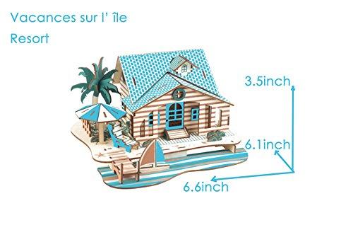 HorBous Puzzle 3d Resort Woodcraft Construction Jouet Bb en Bois Jouet en Bois Maison 3d