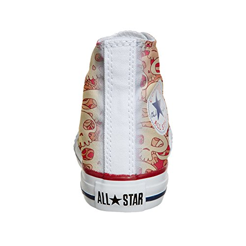 Converse All Star Hi chaussures coutume (produit artisanal) Orange Skull