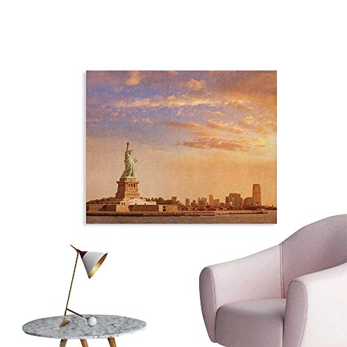 Anzhutwelve Sculptures Photographic Wallpaper Statue of Liberty American Freedom Symbol on NYC Sunset with River Skyscraper Poster Print Yellow White W36 xL32