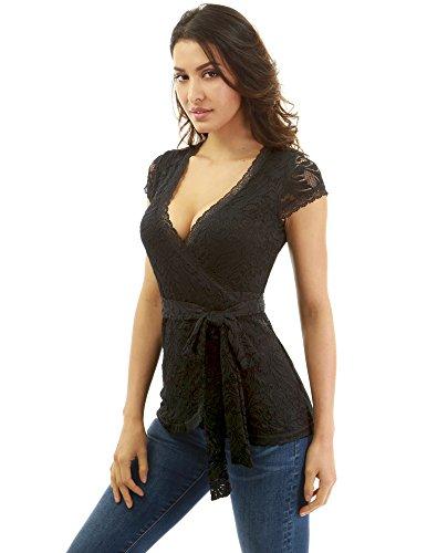 Pattyboutik Floral Mujer De Blusa Encaje Negro xgpzg6Ywq