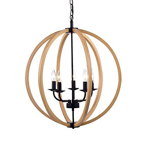 Round Wood Pendant Light in US - 6