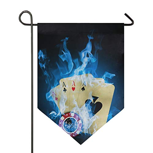 (DEZIRO Garden Flag Casino Poker Blue Fire Vertical Double Sided Yard Decor Colorful Design for All Seasons & Holidays)