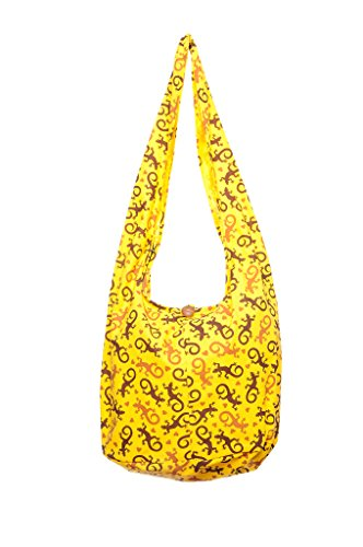 Hobo Avarada Messenger Sling Crossbody Purse Print Yellow Bag Bohemian Gecko Thai Cotton Hippie qUAn0Utr