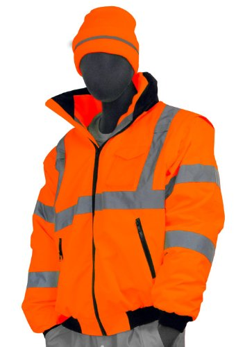 Majestic Glove 75-1382 PU Coated Polyester High Visibility Transformer 8 in 1 Bomber Jacket, 4X-Large, Orange