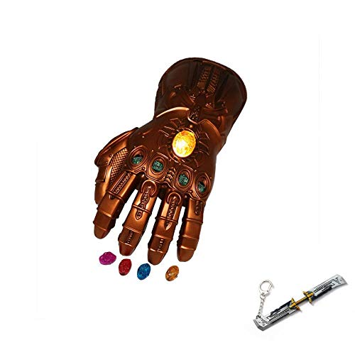 New Version Infinity Gauntlet LED Light PVC Thanos Gloves for Halloween Props (LED Gems Separable, Adult) Free Avengers end game keychain