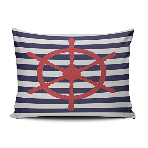 Gingham Standard Sham - XIAFA Home Custom Pillowcase Red Nautical Steering Wheel on Blue Stripe Simple Decorations Sofa Throw Pillow Case Cushion Cover One Sided Printed Design Standard 20X26 inches (Set of 1)