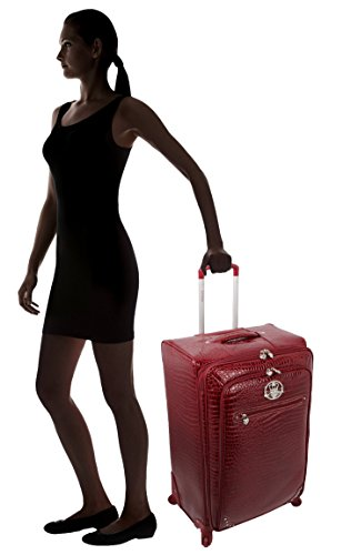 Kathy Van Zeeland Croco PVC Luggage Set 4 Piece Expandable Suitcase with Spinner Wheels (One Size, Burgendy) by Kathy Van Zeeland (Image #5)