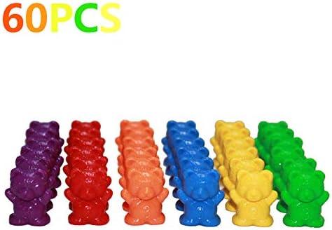 Osos contadores PENG con tazas apilables: juego de combinación Montessori Rainbow, juguetes educativos de clasificación de colores para bebés, tarjeta de almacenamiento y aprendizaje de juguetes