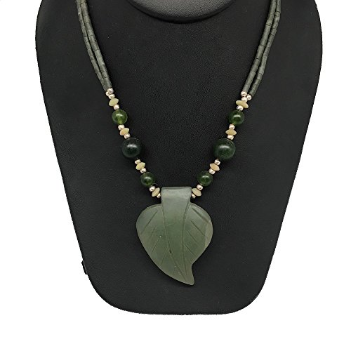 1pc, Handmade Double-Strands Natural Green Nephrite Jade Beaded Pendant Necklace, 24