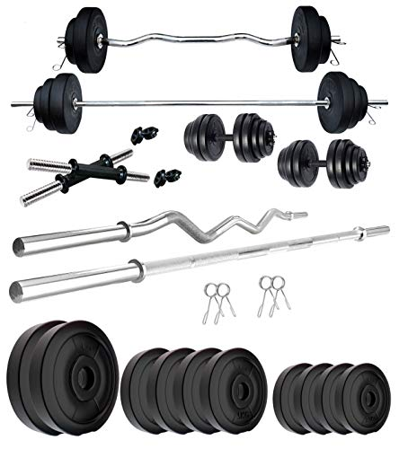 Kore PVC 20-100 Kg Home Gym Set with One 4 Ft Plain + One 3 Ft Curl and One Pair Dumbbell Rods