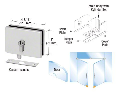 CRL Aluiminum Finish EUR Series Glass Mounted Patch Lock with European Style Keyhole (Glass Mounted Patch Lock)