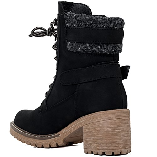 SPYLOVEBUY ABSINTHE Damen Schnür Blockabsatz Stiefeletten Schuhe Schwarz -
