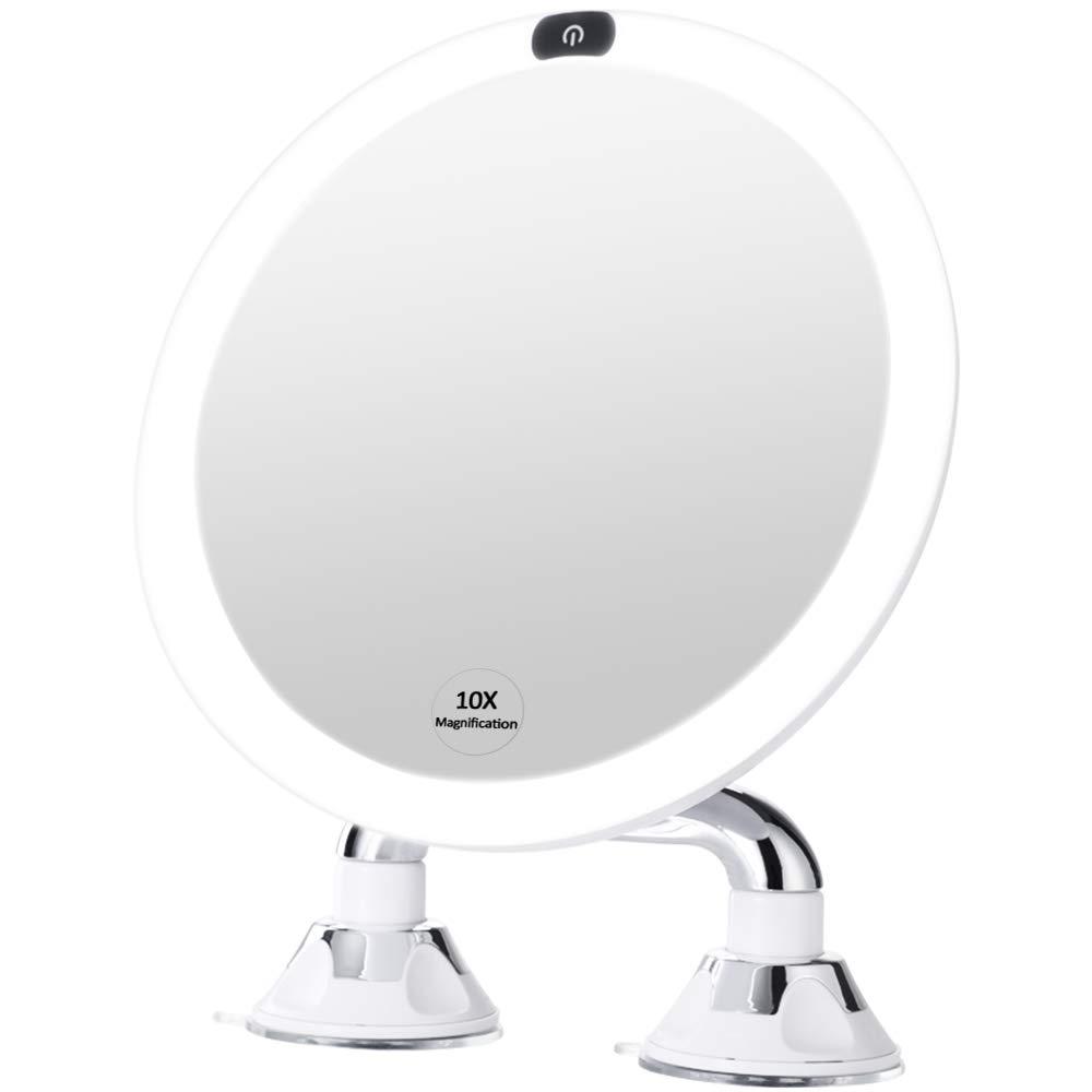 espejo de maquillaje con luz led y Ventosa dual