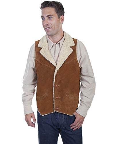 (Scully Men's Faux Suede Shearling Vest Brown)