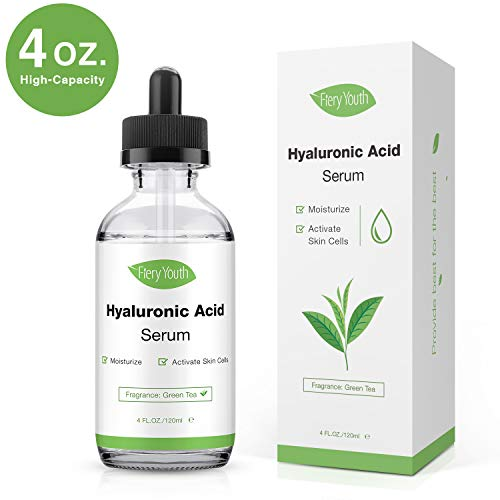 Hyaluronic Acid Serum by Fiery Youth Suitable for All Skin Types-Organic Skin Care With Green Tea Aroma- Anti Aging and Wrinkle/Sunburn Care/Hydrate and Brightening Skin 4 fl.oz