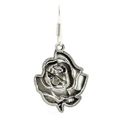 oxydé Plaqué argent Rose Dangle Boucles d'oreilles pendantes pour femme Valentine Cadeau