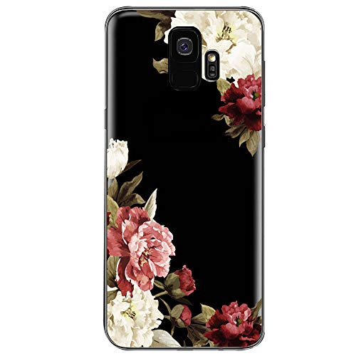 Samsung Galaxy S9 Case,Flyeri Crystal Fashion Floral Pattern Transparent Clear Soft silicone TPU Ultra thin Phone cover back cases For Samsung Galaxy S9 (7)