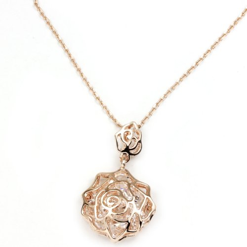 FC JORY Rose Gold Plated Cubic Zirconia Hollow Out Rosette Necklace