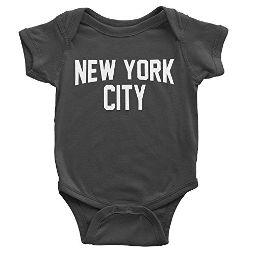 NYC FACTORY New York City Baby Bodysuit Screen Printed Soft Cotton Snapsuit (Charcoal, 6m)