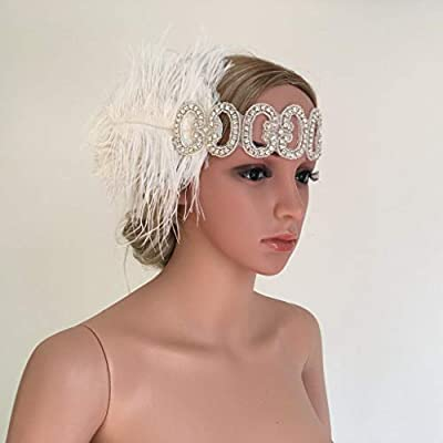 1920s Great Gatsby Feather Fascinator Headband Wedding Church Party Headwear
