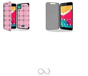 Tartan rose Collection Pattern Funda de Cuero para Wiko Rainbow Jam 4G Flip Case Cover (Estuche) - FUNDA SOPORTE / PU Cuero - Accesorios Case Industry Smart Magnet