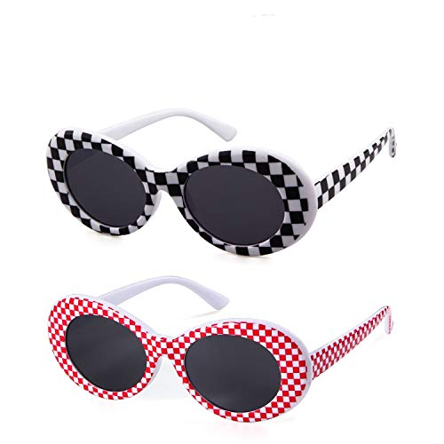 Bold Retro Oval Mod Thick Frame Sunglasses Clout Goggles with Round Lens (2 packs White/Red Checkered, 51)]()