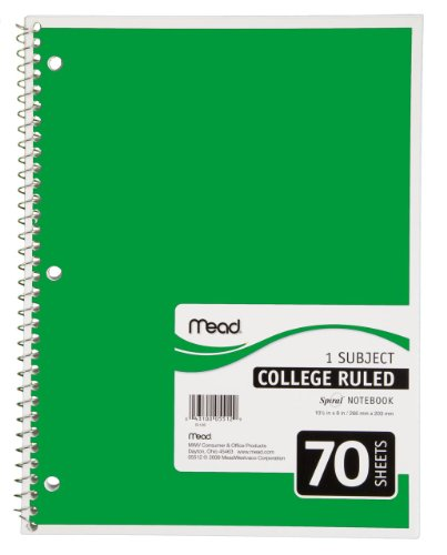 Mead Spiral Notebook, 1 Subject, College Ruled, Green (72209)