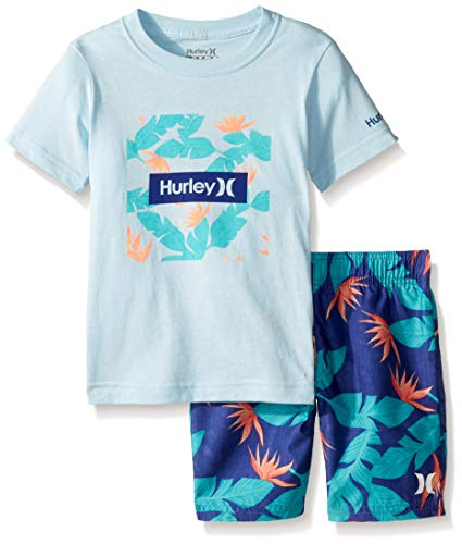 (Hurley Baby Boys' Little Graphic T-Shirt and Shorts 2-Piece Outfit Set, Deep Royal Blue/Floral, 7)