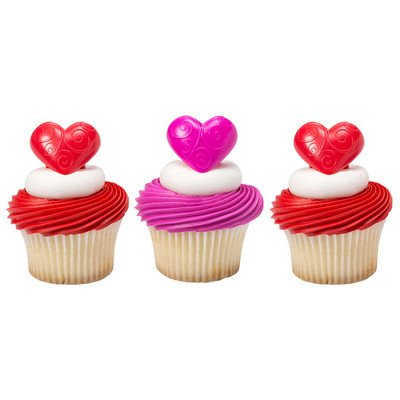 24 Pack Heart Scroll Valentine Love Red Cupcake Ring Toppers