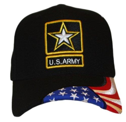 Shield Military Cap - Stylish Patriotic Flag on Brim Hat of US Army Logo Emblem Black