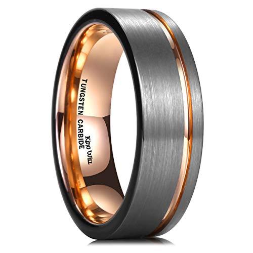 King Will Tungsten Carbide Wedding Ring 7mm Rose Gold Line Flat Pipe Cut Brushed Polished 10