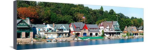 Art, Inc. Boathouse Row at the Waterfront, Schuylkill River, Philadelphia, Pennsylvania, USA, Stretched Canvas Print, 36x12 in