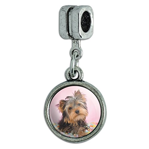 Graphics and More Yorkie Yorkshire Terrier Dog Candy Eggs Easter Italian European Style Bracelet Charm Bead