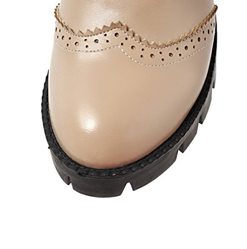 WeiPoot Round Black Closed Heels High Women's Pu Toe Zipper Boots Solid 1qU1wr