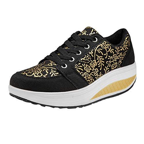 Swing Shoes Women AopnHQ Running Shoes Lightweight Air-Permeable Sports Shoes Lazy Casual Platform Shoes Flats Wedges -