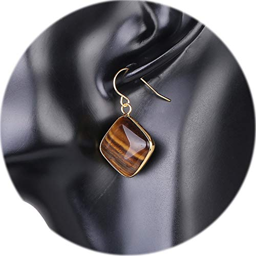 New Arrival Fashion Square Natural Stone Earrings for Women Gold Color Hook Dangle Eardrop Quartz Geometric Earring,Tiger Eye - Geometric Eye Necklace Tigers