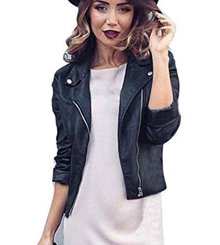 Slim Motorcycle Women Jackets Bomber PU Soft Leather Zip Jacket Coat (M)