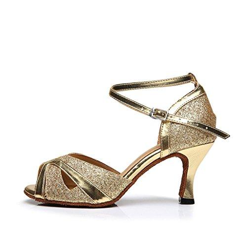 BCLN Womens Open toe Sandals Latin Salsa Tango Heels Practice Ballroom Dance Shoes with 2.75 Heel Gold oRmU6RT