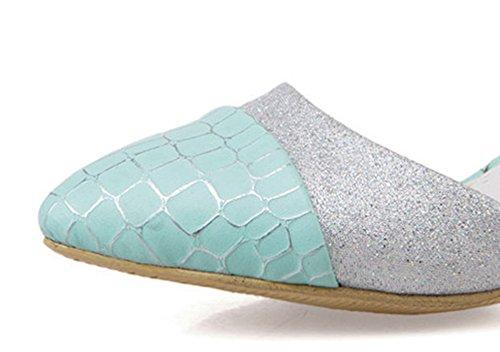 Aisun Damen Modisch Glitzer Spitze Zehe Schöne Kitten Heels Sandalen Blau