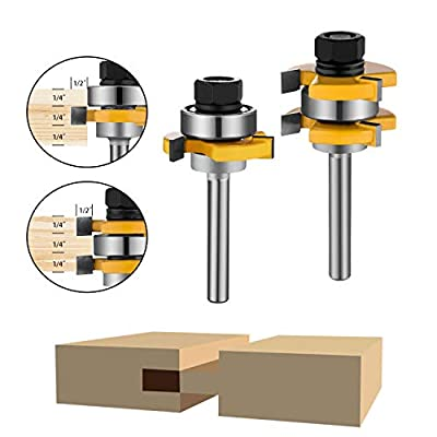 2Pcs Tongue and Groove Router,Baowox 1/4 Router Bit Set Wood Door Flooring 3 Teeth T Shape,Wood Milling Saw Cutter New Woodworking Tools