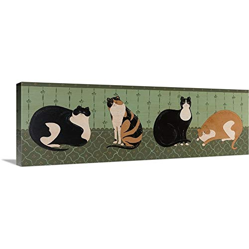 4 Cats Canvas Wall Art Print, 36
