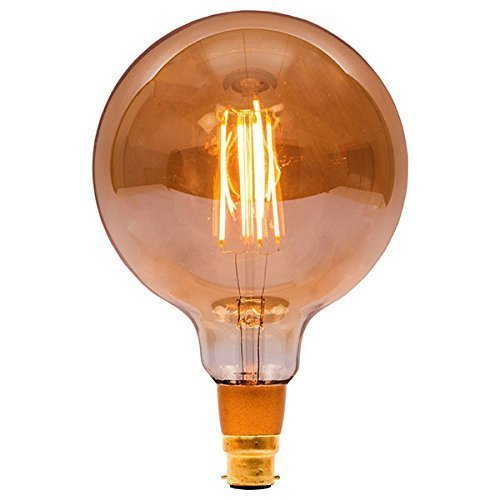 Bell - Bombilla LED de 125 mm, 240 V, 4 W, B22d, ámbar regulable: Amazon.es: Iluminación