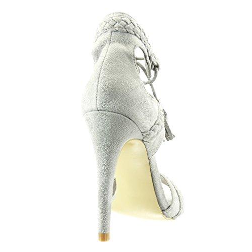 Aperto Stiletto con Intrecciato Donna 11 PON PON Frange Sandali Moda Scarpe Alto Stiletto cm Angkorly Decollete Tacco Tacco Grigio fS06Wq