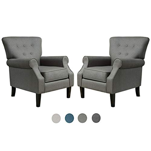 Top Space Accent Chair Sofa Mid Century Upholstered Roy Arm Single Sofa Modern Comfy Furniture for Living Room,Bedroom,Club,Office (2 PCs,Deep Gray)