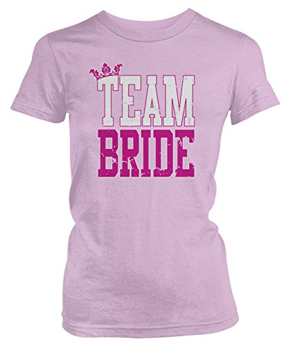 Amdesco Junior's Team Bride, Bridal Bachelorette Party T-Shirt, Light Pink Small
