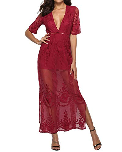 BBYES Womens Lace Stitching Long Maxi Beach Dress Jumpsuit Romper Swimwear Bikini Cover Up Red L