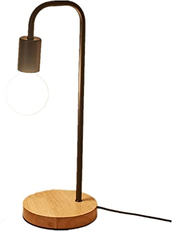 LED Table Lamp Black, Wood with Clip