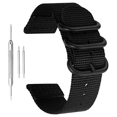 20mm Black High-end Superior NATO Style Ballistic Nylon Watch Band Strap Replacement for Men Braided Black Nylon Watch Band